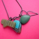 little olive and turquoise charm pendant