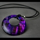 Flat Circular Pendant with Hole in Purple