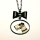 Terrier Vintage Glass Cabochon and Bow Necklace