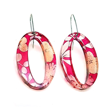 Pink Blossom Oval Earrings
