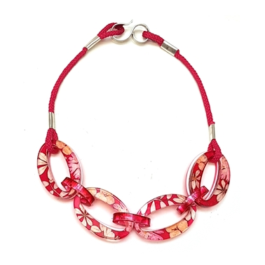 Pink Blossom Oval Chain