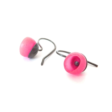 Pink hook earrings