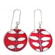 pink/red box disc earrings