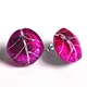Magenta Skeleton leaf Stud Earrings