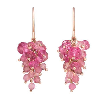 Pink Tourmaline Grape Earrings