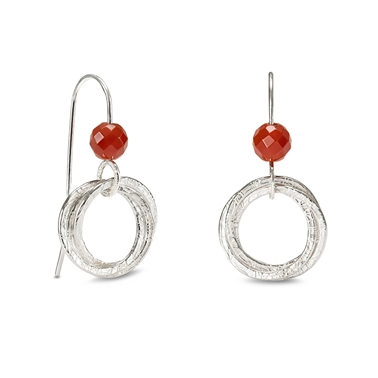 Hoop Cluster Earrings With Red Carnelian Beads