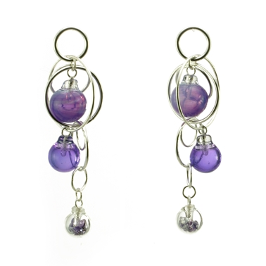 Purple Triple Bubble Earrings