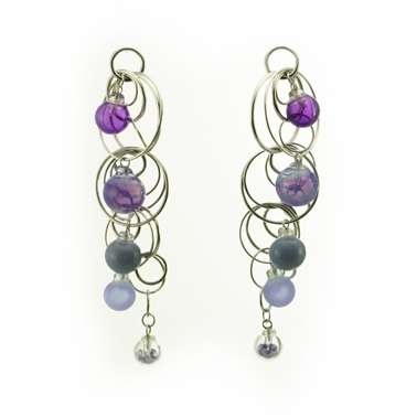 Quintuple Bubble Earrings - Purples