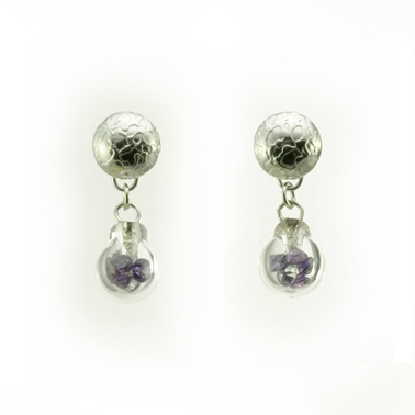 Small Bubble Earrings - Purple