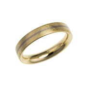 18ct yellow gold stripe wedding ring