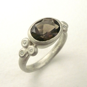 Smoky quartz, silver and diamond ring