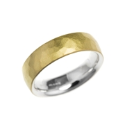 Silver and 18ct yellow gold hammered skin ring
