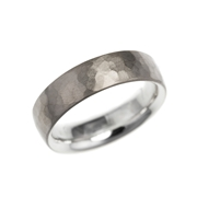 Silver and 18ct white gold hammered skin ring