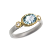 Aqua, diamond, 18ct yellow gold and silver ring