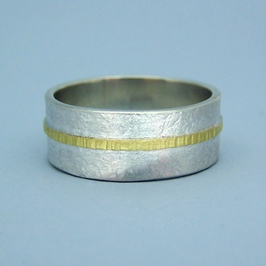 wide hammered ring