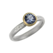 Round blue spinel, silver, 18ct yellow gold and diamond ring