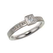 Princess cut diamond and palladium ring