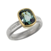 grey green tourmaline and diamond ring