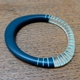 Blue wangle bangle with turquoise stripes