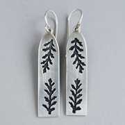 Rectangle pierced fern earring