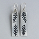 Long rectangle pierced fern earring