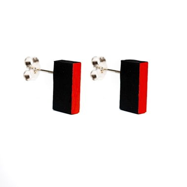 Rectangular Studs - Black & Red