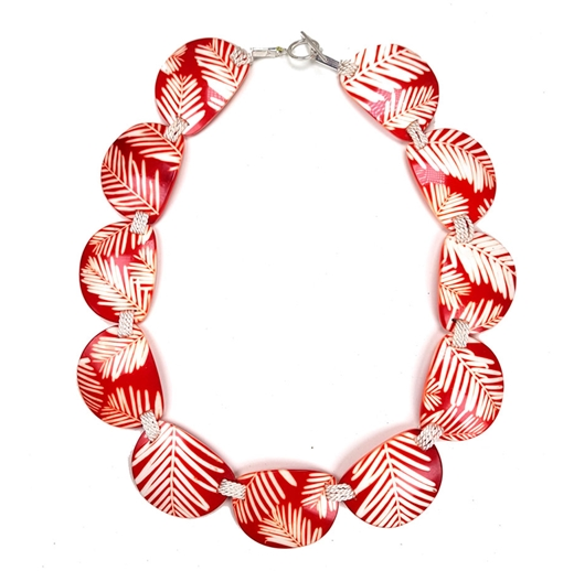 Red Conifer Semi-Circle Stitched Necklace