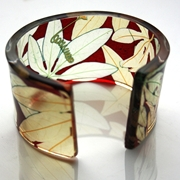 Red gold passion flower wide cuff
