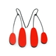 Red split drop earrings