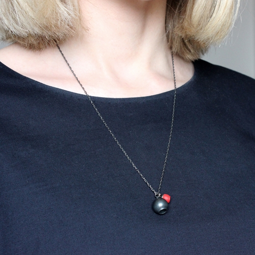 Red 2 Cup Pendant - worn