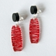 red clip wired earrings