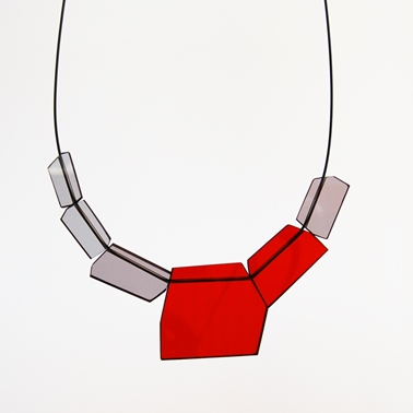 red and grey shard necklace 05