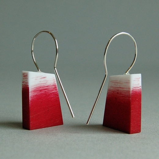 red graffiti earrings back
