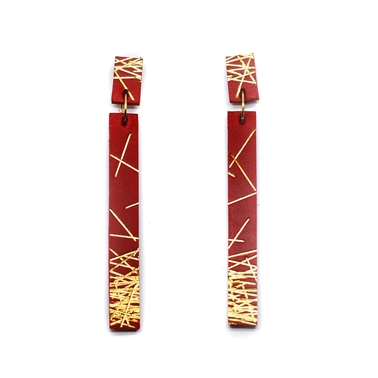 Long Lines Red Earrings