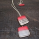 red + cream stripy mix-up pendant