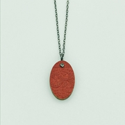 Red Oval Pendant Front Close