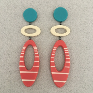 Long drop ellipse earrings
