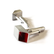 Red & Silver Enamel Cufflinks