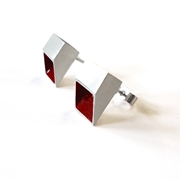 Red & Silver Tube Studs