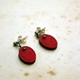 Red Book Cover Short Drop Earrings