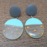 Resin oval earrings-turquoise with orange spots
