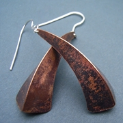 One fold copper earrings