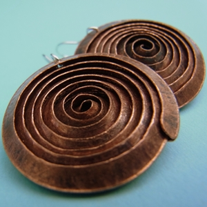 Large flat copper spiral earrings