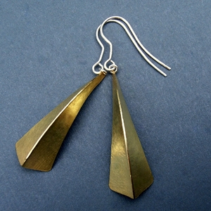 One fold brass earrings