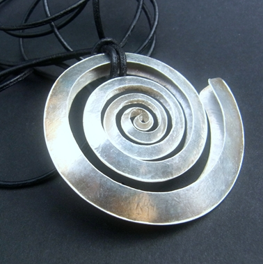 Small swirl silver pendant contemporary necklaces pendants by small silver spiral pendant aloadofball Image collections
