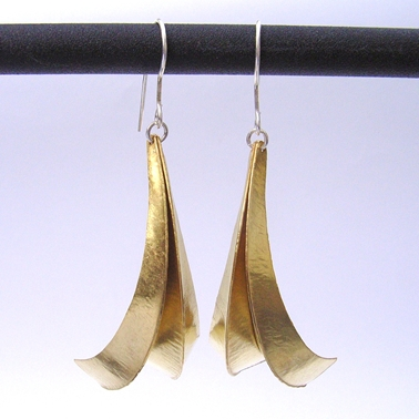 Three fold brass earrings