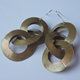 Very large 3 link oxidised brass earrings