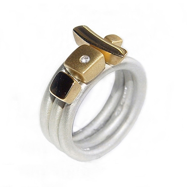 Silver Ring Set with Diamond & 18ct Gold Detail