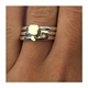 Silver Ring Set with diamond & 18ct detail on finger