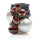 stacking rings featuring garnet ring